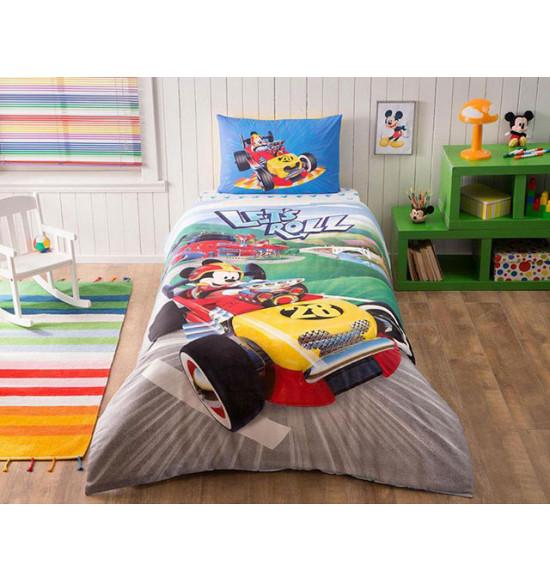 Детское постельное белье TAC 1.5 сп. Ranforce Mickey Racer