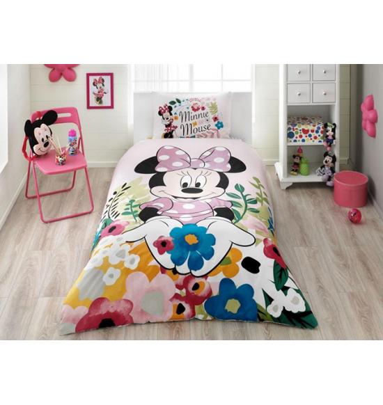 Детское постельное белье TAC 1.5 сп. Ranforce Minnie Glitter (с блестками)