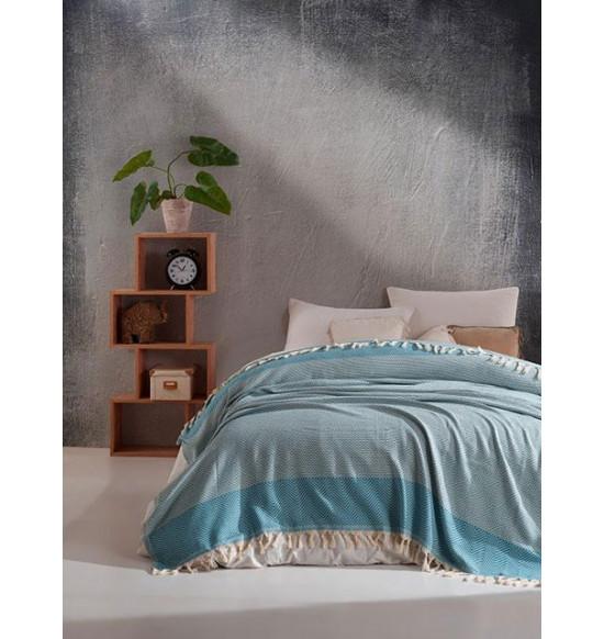 "Плед ""DIVA"" Cotton 200х220 см (бирюзовый)"