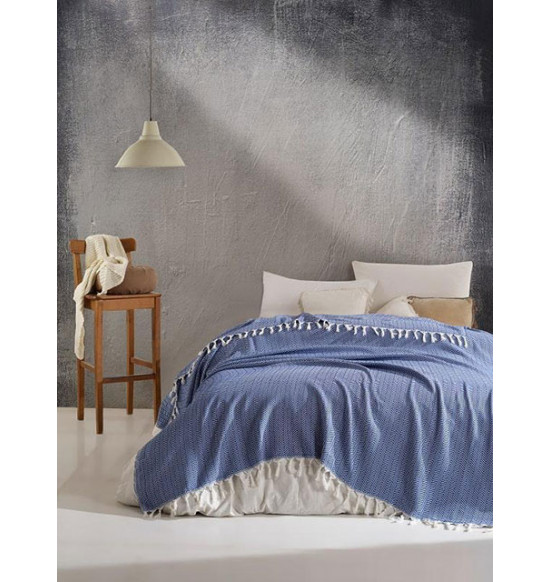 "Плед ""DIVA"" Cotton 200х220 см (голубой)"