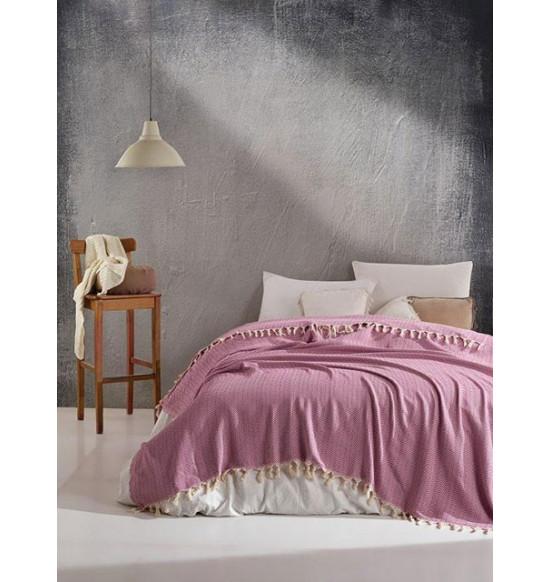 """Плед """"DIVA"""" Cotton 200х220 см (розовый)"""