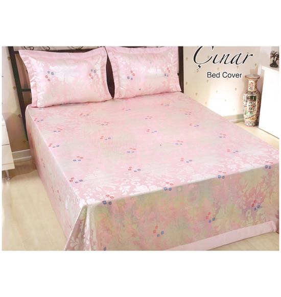 Покрывало на кровать жаккардовое с наволочками 240x260 см CINAR (розовое)