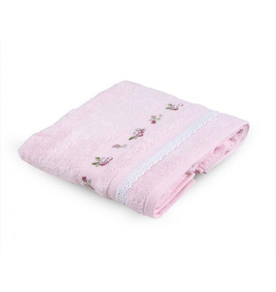 Полотенце с вышивкой TAC ARGAN  50x90 см (розовое)
