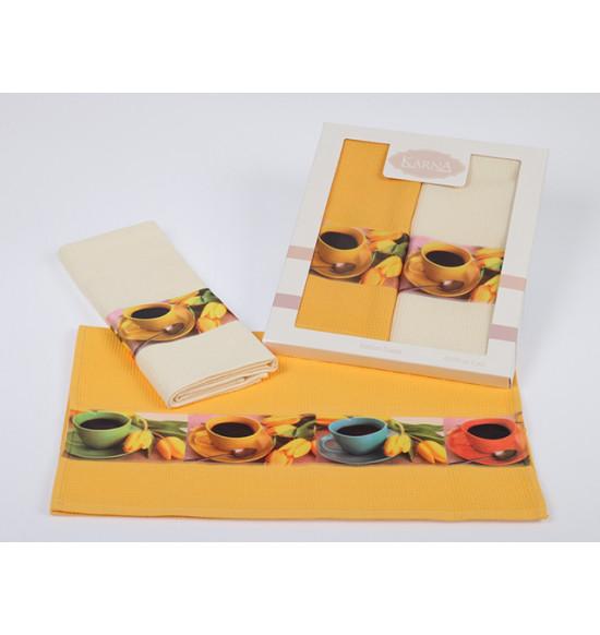 """Набор вафельных полотенец для кухни """"Karna"""" AVZE 45х70 см (2 шт.) разные расцветки"""