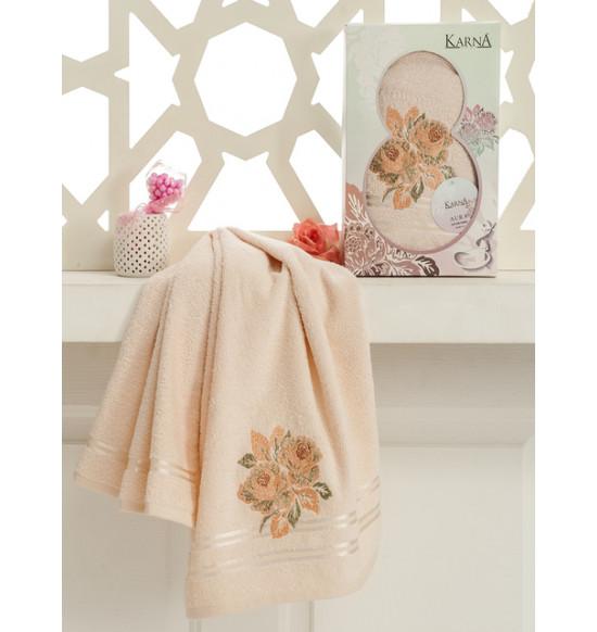 """Подарочное полотенце """"Karna"""" AURA 8 Марта 50x90 (разные цвета)"""