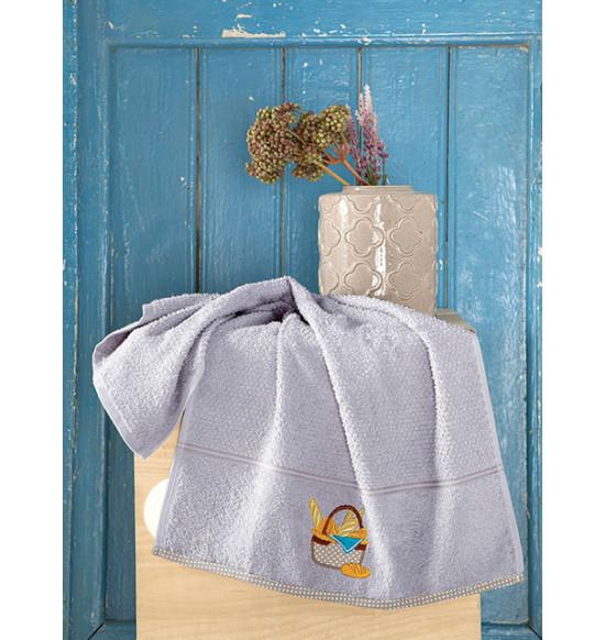 "Полотенце кухонное махровое ""KARNA"" Breakfast 45х70 см (серый)"