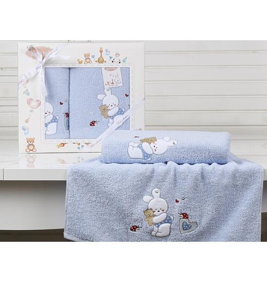 """Набор детских полотенец """"KARNA"""" Bambino Bunny 50x70-70х120 см (голубой)"""