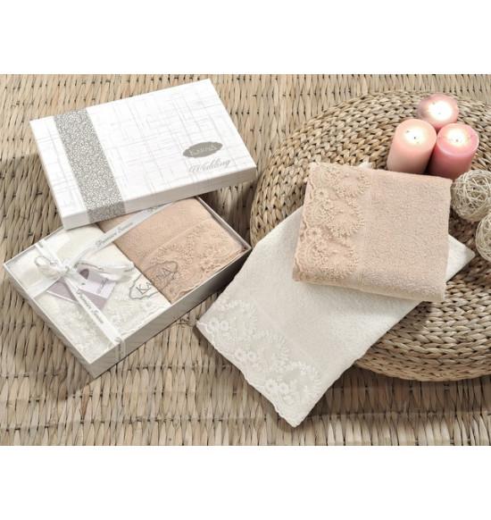 """Комплект полотенец c гипюром """"KARNA"""" Elinda 50x90 см 1/2 (крем/кофе)"""