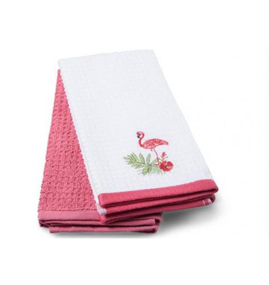 Набор махровых салфеток с вышивкой Tac Flamingo 40x60 см 1/2