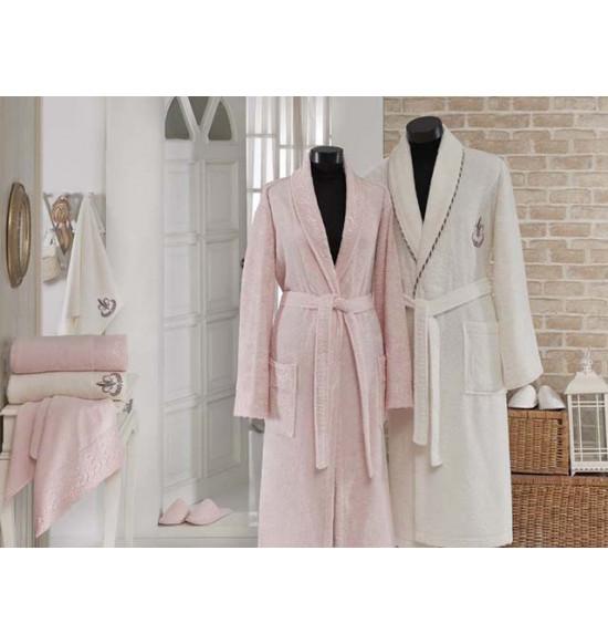 Халат мужской бамбуковый + 2 полотенца  GONCA HAZAN (кремовый)