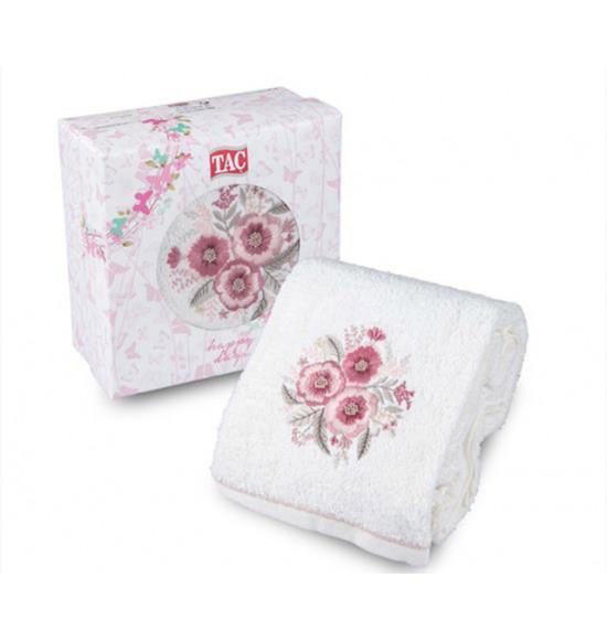 Полотенце с вышивкой в коробке Tac Hibiscus 50x90 см (крем)