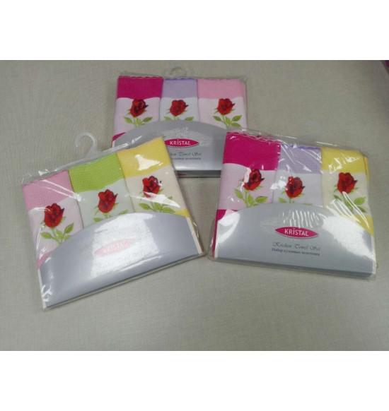 Набор вафельных салфеток Krystal Цветы 45x70 см 1/3