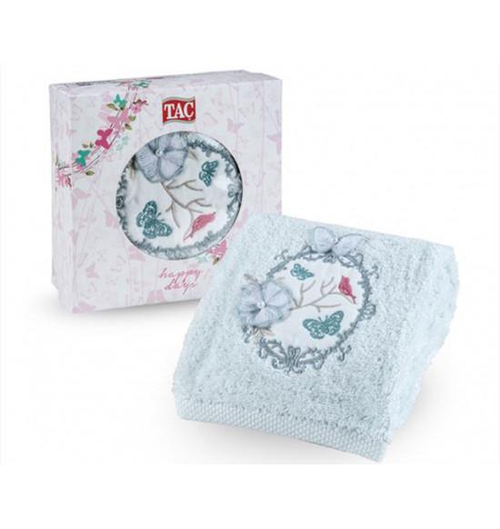 Полотенце махровое с вышивкой в коробке Tac Limni 50x90 см (минт)