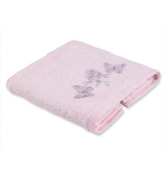 Полотенце с вышивкой TAC PECHER 50x90 см розовое и кремовое