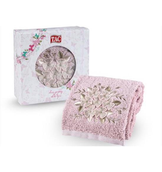 Полотенце махровое с вышивкой в коробке Tac Peres 50x90 см (пудра)