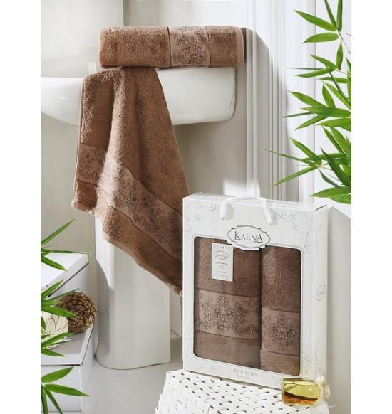 "Набор бамбуковых полотенец ""KARNA"" Pandora 50х90-70х140 1/2 (коричневый)"