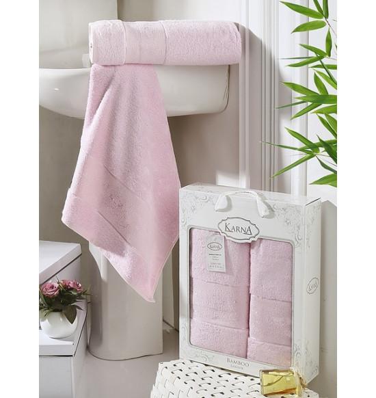 "Набор бамбуковых полотенец ""KARNA"" Pandora 50х90-70х140 1/2 (розовый)"