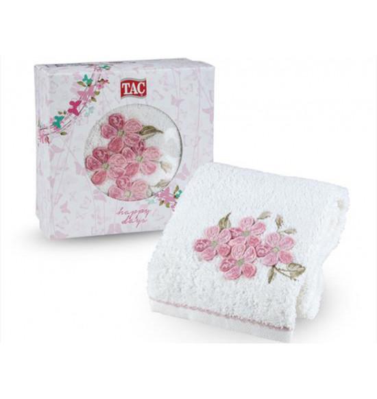 Полотенце махровое с вышивкой в коробке Tac Pera 50x90 см (крем)