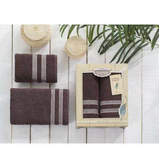 "Комплект полотенец ""Karna"" Petek 50х90-70х140 см (коричневый)"