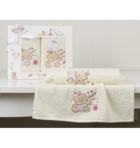 "Набор детских полотенец ""KARNA"" Bambino Bear 50x70-70х120 см (крем)"