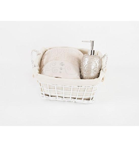 Набор подарочный 2-ух предметный DIAMOND:  полотенце Irya 85х150 + дозатор для ванной