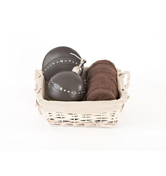 Набор подарочный 3-х предметный BROWN: полотенце Irya 50х90 + мыльница + дозатор для ванной