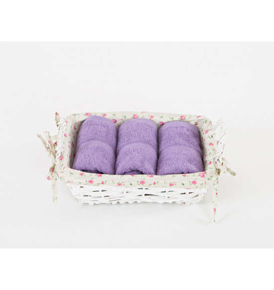 Набор полотенец в подарочной корзине Irya Violet 30х50 см 1/3