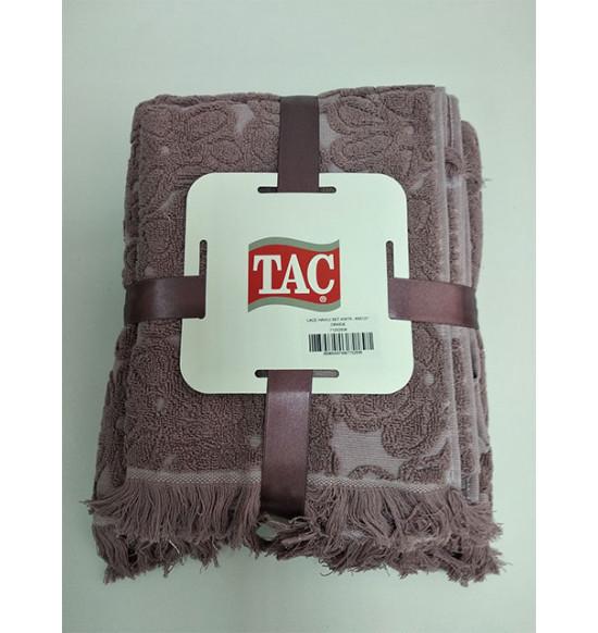 """Комплект махровых полотенец """"TAC"""" Lace 40х76-69х127 см 1/2 Orkide"""