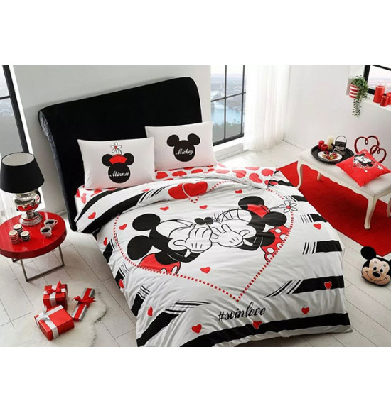 Постельное белье TAC 2 сп. Ranforce Disney Minnie&Mickey Amour