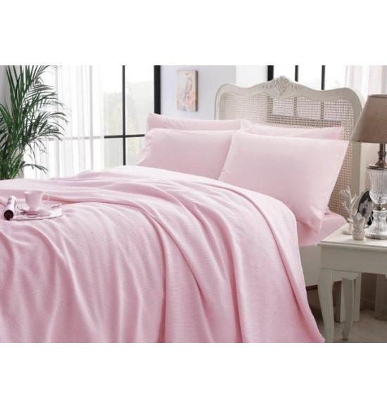 Комплект белья TAC 2 сп. Cool с вафельным покрывалом (розовый)