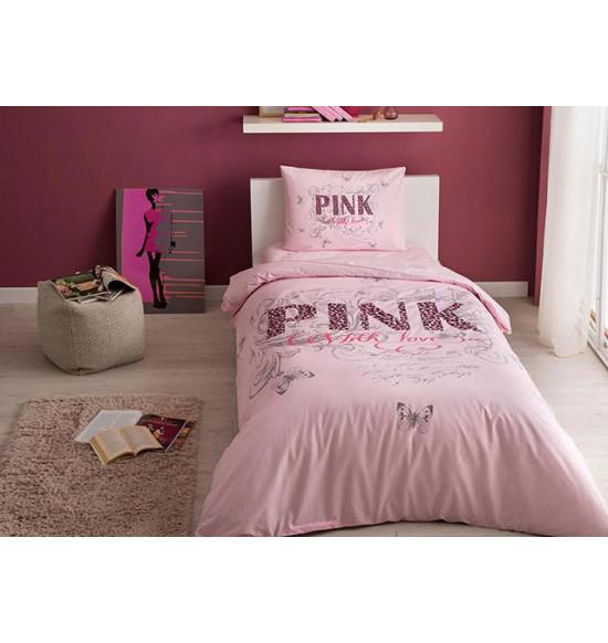 Постельное белье TAC 1.5 сп. Ranforce Pink Pembe
