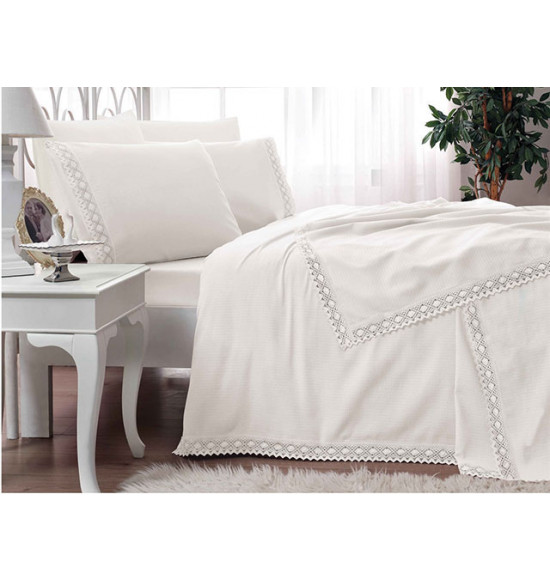 Комплект постельного белья с пике TAC 2 сп. евро Frozen Krem