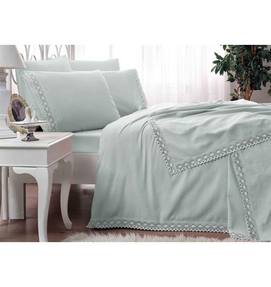 Комплект постельного белья с пике TAC 2 сп. евро Frozen Mint