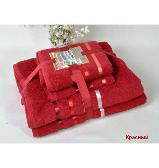 "Комплект полотенец ""KARNA"" Bale 50х80*2-70х140*2 1/4 (бордовый)"