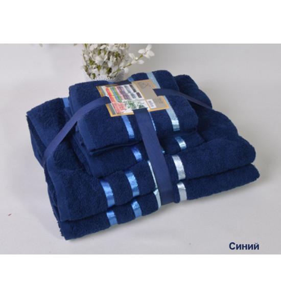 """Комплект полотенец """"Karna"""" BALE 50х80 (2шт) 70х140 (2 шт) (т.синий)"""