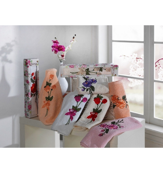 "Полотенце махровое в коробке ""KARNA"" ROSALINE 40x80 см"