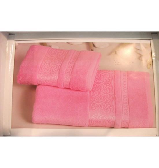 """Комплект полотенец """"Cestepe"""" PREMIUM бамбук 50x90-70х140 см (розовый)"""