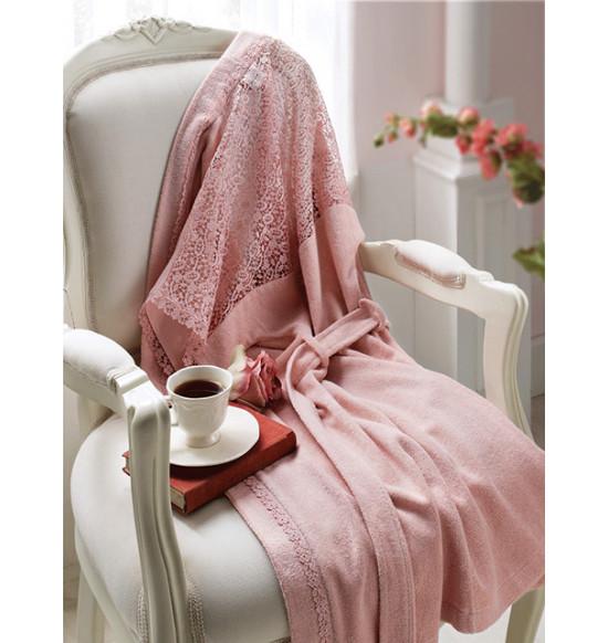 Халат женский бамбуковый Tivolyo Home Linda S розовый + полотенце 50х90 см
