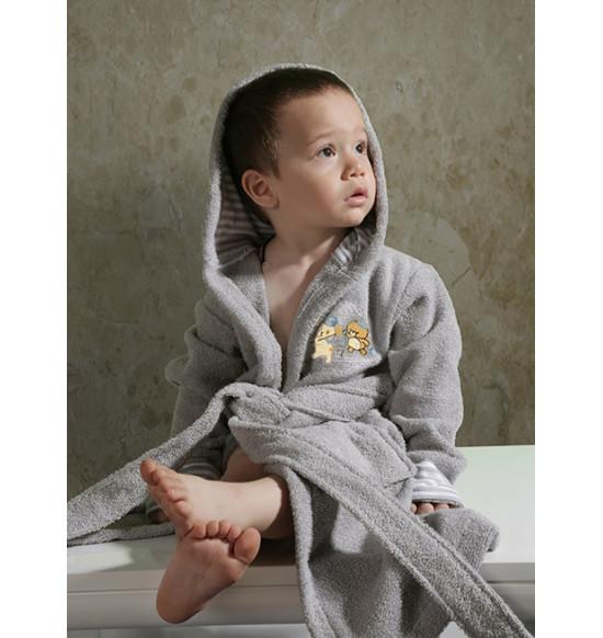 """Халат детский махровый """"KARNA"""" Teeny с капюшоном 2-3 года (серый)"""
