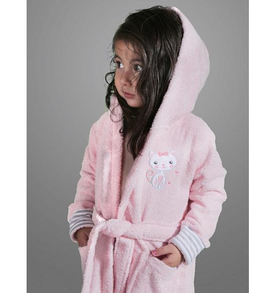"""Халат детский махровый """"KARNA"""" Teeny с капюшоном 4-5 лет (розовый)"""
