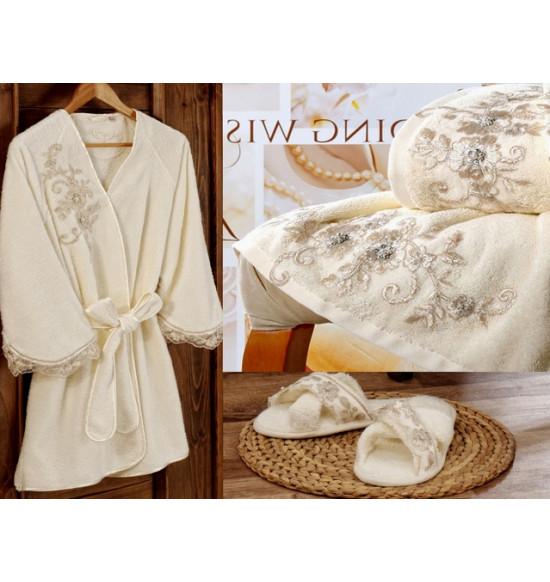 Набор Irya Beloved (халат+2 полотенца+тапочки) M-L крем