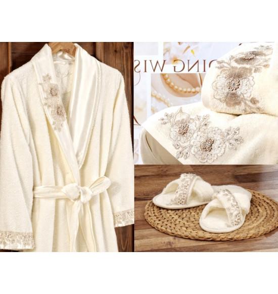 Набор Irya Fleur (халат+2 полотенца+тапочки) M-L крем, светло-кремовый