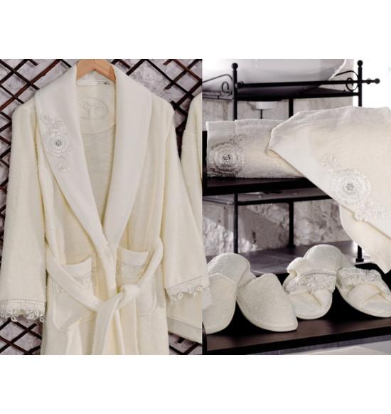 Набор Irya Nice (халат+2 полотенца+тапочки) S-M крем