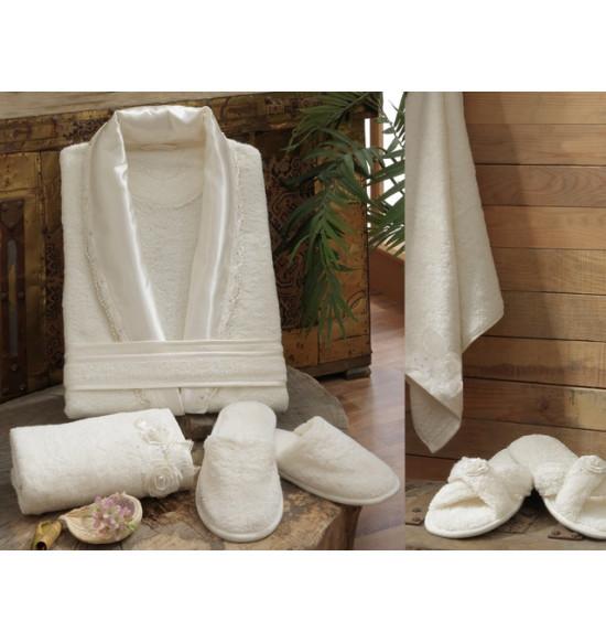 Набор Irya Rose (халат+2 полотенца+тапочки) M-L крем